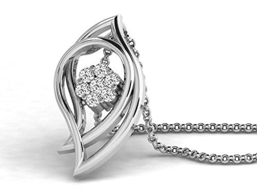 Or Blanc 14 ct Pendentifs Diamant en forme de Feuille, 0.1 Ct Diamant, GH-SI, 0.98 grammes.