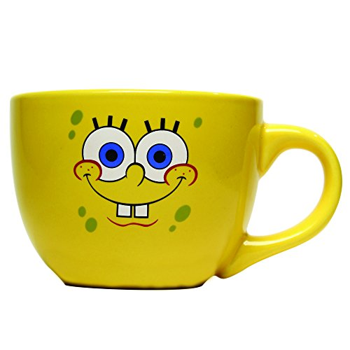 Silver Buffalo SpongeBob Face Ceramic Soup Mug, 24 oz, Yellow (24 Spongebob)