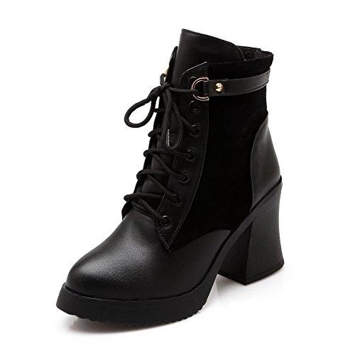 top Heels Assorted Low High Lace Boots Materials up Black Blend AgooLar Women's Color cqvIOO
