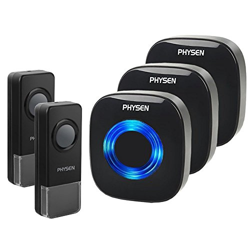 (Physen Model CW Waterproof Wireless Doorbell kit with 2 Buttons and 3 Plugin Receivers,Operating at 1000 feet Long Range,4 Volume Levels and 52 Melodies Chimes,No Battery Required for Receiver,Black)