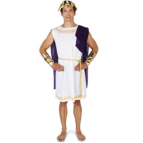God Halloween Costume Ideas (White Toga (Short) Man Adult)