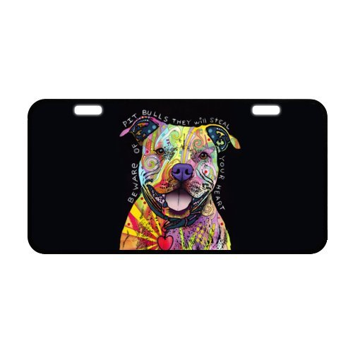 Oil Painting Pit Bull Puppy Dog Metal License Plate for Car,Car Tag,Auto Tag 6.1