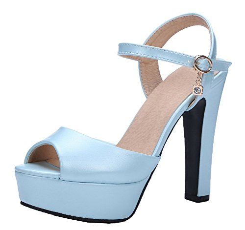 WeenFashion Pu Blue Heels Women's Solid Peep Sandals High Toe Buckle rfrwqx