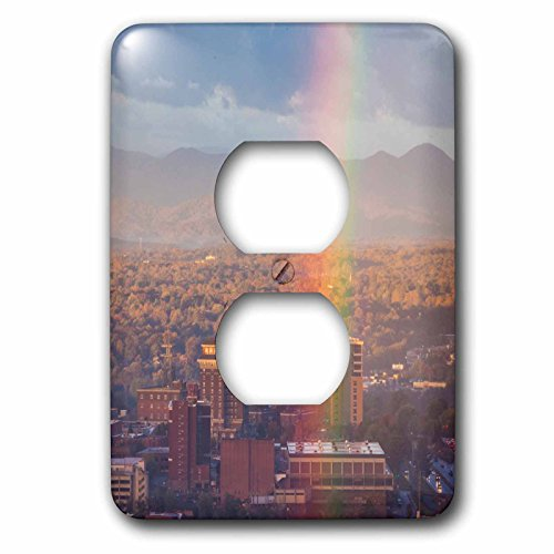 Danita Delimont - North Carolina - North Carolina, Asheville, elevated city skyline with rainbows, dawn - Light Switch Covers - 2 plug outlet cover - Outlets Asheville