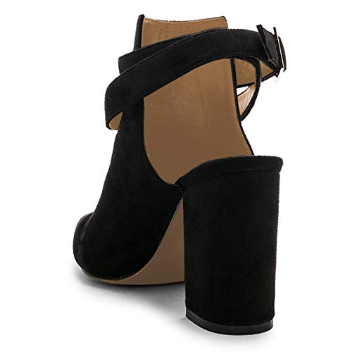 Mid Women Heel Pumps Pointed Shoes Bootie YDN Buckle Straps Toe with Ankle Black Dress npxAwqCR