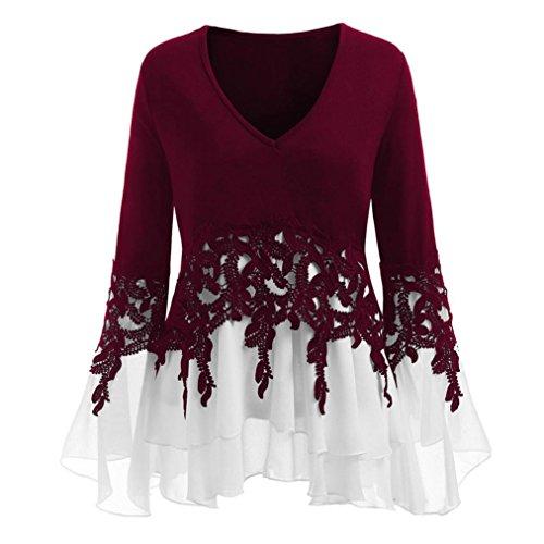 Malbaba Women Blouse, Falbala Long Sleeve Applique Flowy Plus Size Blouse Tops (XL, Wine)