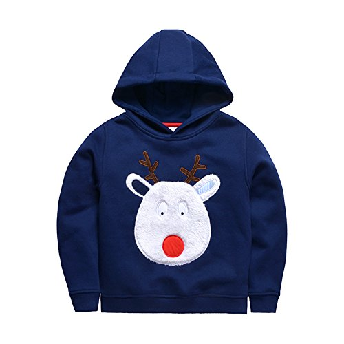 126 Cashmere (Baby Boy Christmas Hooded Sweater Cotton Toddler Pullover Sweater)