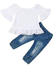 citgeett Toddler Baby Girls Jeans Outfits Off Shoulder Tube Top+Hole Denim Pants Set Kids Summer Clothes