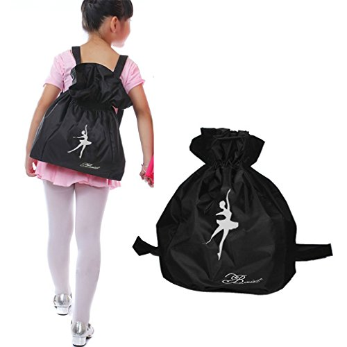 - Greenery Elegant Waterproof Dance Bags Adjustable Shoulder-strap Drawstring Closure Dance Backpack for Kids Girls Boys with the height of 1-1.6m (Black)