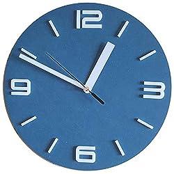 Bronzehouse Wall Clock Silent & Non-Ticking Quartz Movement 10 Unique Color Clock Navy