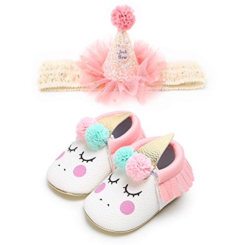 Newborn Baby Girl Mary Janes Shoes Unicorn Bow Headband Princess Baptism Toddler Infant Crib Dress Flat Shoes - Birthday Party Shower Gift (0-6 Months, A-Pink) -