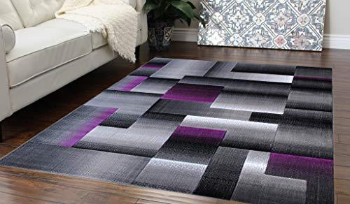 Masada Rugs, Modern Contemporary Area Rug, Purple Grey Black (5 Feet X 7 -