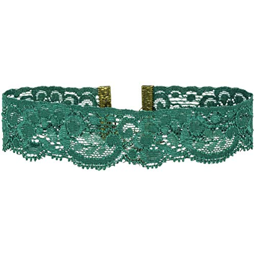Twilight's Fancy Floral Elastic Stretch Lace Choker Necklace (Dark Green, Large)