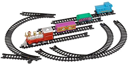 Mini Train Set With Tracks Toy - Battery Operated Classic Train Building Kit – By Kidsco (Set Track Plastic)