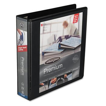 * Premium Single-Touch Locking Round Ring View Binder, 2'' Capacity, Blac