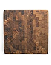 """Ironwood 28218 End Grain Acacia Wood Cutting Board and Prep Station, 14"""" Square"""