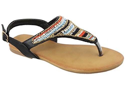 Clearance Sale Best Black Beaded Embroidered Vegan Leather Cut Out Open-Toe Thong Gladiator Side Buckle Ankle Strap Flat Flip Flop Sandal Stylish Spring Gift Idea Her Women Lady (Size 10, Black) ()