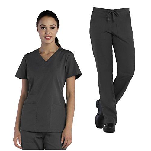 Tru Basic Womens V-Neck Top 10102 & Half Elastic Drawstring Pant 90102 Scrub Set (Pewter, Large)