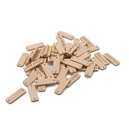 (Hi-Unique 50 Pcs Oval Handmade Tag Label Wood Handmade Tags Button with 2 Holes for DIY Crafts Sewing Clothing Decoration,Beige)
