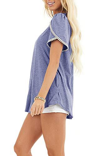 SENSERISE Womens Womens Casual Lace Trim Tops Short Sleeve Loose Fit Blouse Tunic Cute T Shirts(Purple,S)