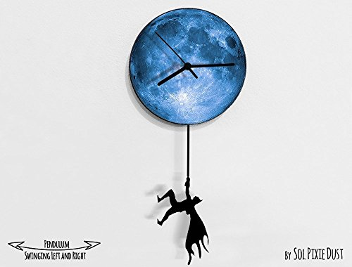 Batman Swinging on the Moon - Pendulum Wall Clock