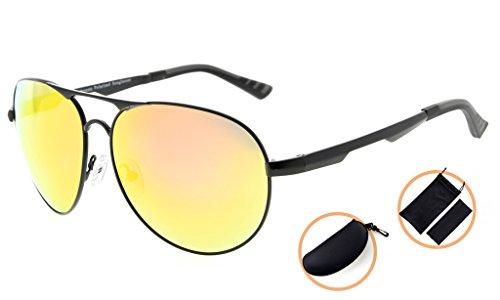 Eyekepper Lunettes de soleil Metal monture verres en Polycarbonate verres Polarisees lunettes soleil style aviateur noir/rouge verre