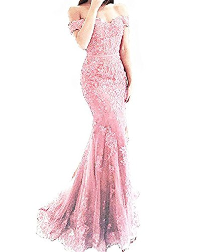 Scarisee Women's Mermaid Trumpet Beaded Off Shoulder Prom Evening Dresses Lace Appliqued Formal Party Gowns Pink 04