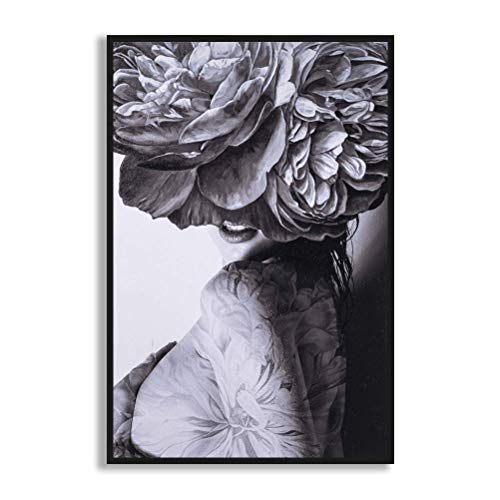 MOTINI Canvas Framed Wall Art Woman Figure Flower Picture,Black White Gray Classical Vintage Contemporary Abstract Modern Fashion Poster Prints Bathroom Hotel Gallery Studio Office Decor,Ready To Hang