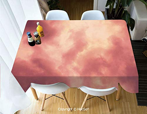 HooSo Premium Polyester Table Cover, Machine Washable, Durable Table Cloths for Wedding Reception Restaurant Banquet Party,Coral,Majestic Evening Sky Cloudscape Soft Dreamy,60