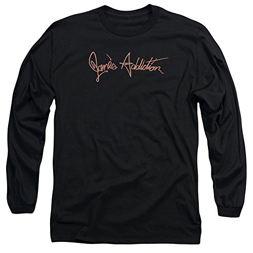 Janes Addiction Script Logo Unisex Adult Long-Sleeve T Shirt for Men and Women, Medium Black