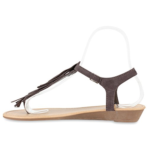 Leder Flandell Stiefelparadies Trendschuhe Fransen Sandalen Dianetten Optik Grau Damen 0IfwqIrg