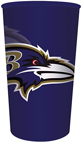 Creative Converting Officially Licensed NFL Plastic Souvenir Cups, 20-Count, 22-Ounce, Baltimore Ravens