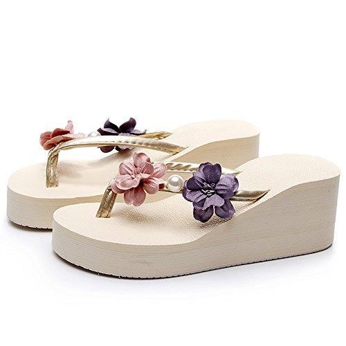 FEIFEI Sandalias de las mujeres de verano zapatos antideslizantes romanos Zapatillas de plataforma impermeables de la moda Bohemia Flores Clip Toe Seaside Beach Shoes 7CM ( Color : Negro , Tamaño : EU Beige