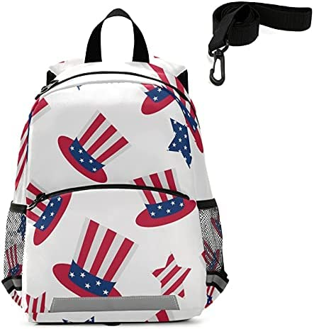 Uncle Sam's Top Hat Toddler Backpack Kids American Holidays Kindergarten Schoolbag Preschool Nursery Travel Bag with Safety Leash Harness for Baby Boys Girls 3-8 Years