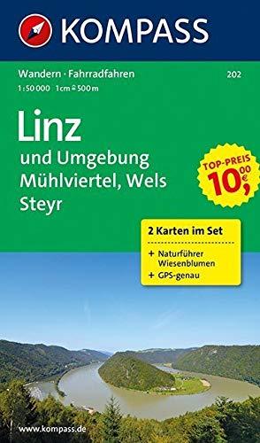 Rund um Linz, Mühlviertel, Wels, Steyr 1 : 50 000. Wander- und Bikekarten. Mit Naturführer. GPS-genau