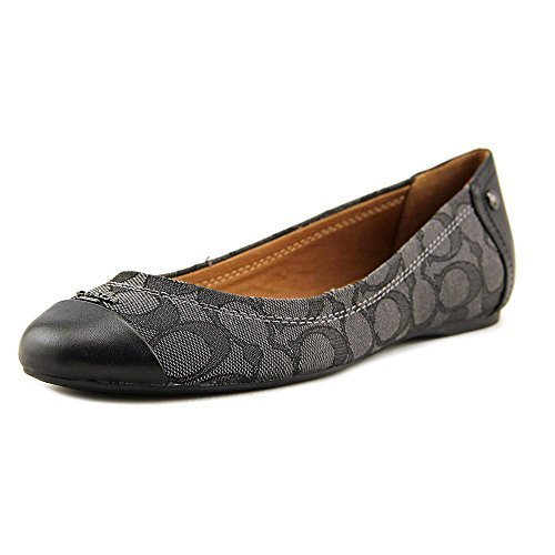 Coach Women¡¯s Chelsea Black Smoke Black Outline Signature Calf Leather Flats 8 B US Women