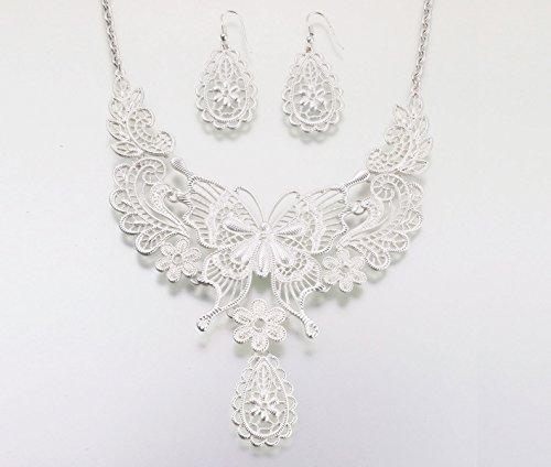 Lillian Rose Silver Wedding Jewelry Butterfly Necklace Earrings ()