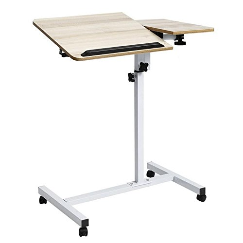 Laptop stand, Wood Mobile Laptop Desk Angle Height Adjustable Moveable Bedroom Table Stand - Full Size Pedestal