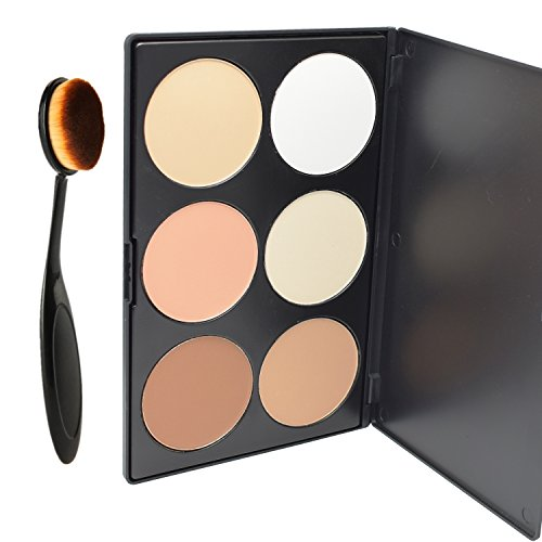 Lover Bar 6 Farbe Contour Palette+Oval Zahnbürste Make Up Pinsel-Professionell Gesicht Gepressten Puder Foundation Bronzer Highlighter Kit-Kosmetische Schminke Pro Concealer Bürste Sleek Kontur Paletten (Oval)