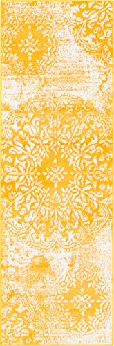 Unique Loom 3138715 Sofia Collection Traditional Vintage Beige Area Rug, 2' x 7' Runner, Yellow (Yellow Carpet Runner)