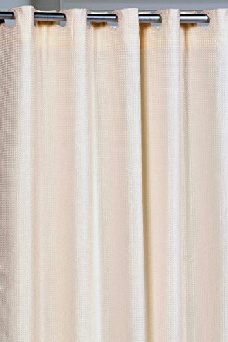 Pre-Hooked Hotel Quality Waffle Weave 75 Inch Extra Long Fabric Shower Curtain with Snap-In Fabric Liner Ivory