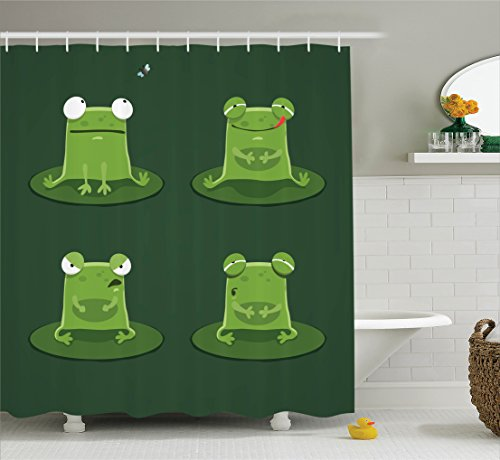 Ambesonne Funny Decor Shower Curtain Set, Funny Muzzy Frog on Lily Pad in Pond Hunting Tasty Fly Expressions Cartoon Animal Theme, Bathroom Accessories, 84 Inches Extralong, Bottle - Collection Lily Pond