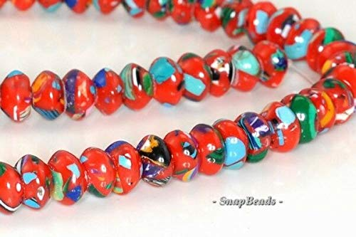 - Matrix Turquoise Gemstone RED Mosaic RONDELLE Donut 8X5MM Loose Beads 15.5