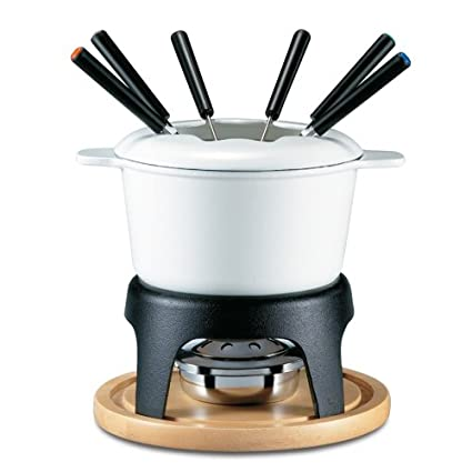 Swissmar F66645 Sierra 11-Piece Cast Iron Fondue Set (White)