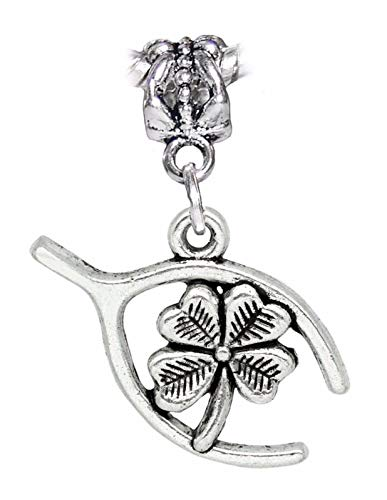Charm - Jewelry - Pendant - 4 Leaf Clover Wishbone Lucky Four Luck for Bracelet