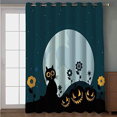 iPrint Blackout Patio Door Curtain,Halloween Decorations,Cute Cat Moon on Floral Field with Starry Night Sky Star Cartoon Art,Blue Black,for Sliding & Patio Doors, 102