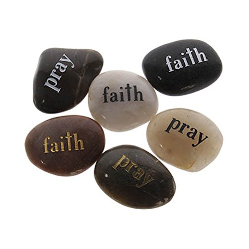 Pray Faith Natural Polished Worry Stones Pack of 10 by Sterling Gifts
