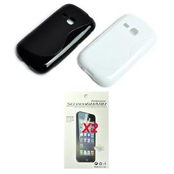 4en1 negra blanco TPU gel Funda CARCASA X2 film X 2 para Samsung Galaxy Young S6310