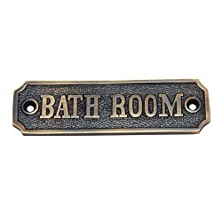 Adonai Hardware Bathroom Brass Door Sign - Antique Brass