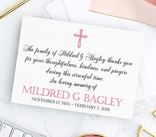 (Personalized Cross Sympathy Acknowledgement Cards, Funeral Thank You Cards, Choose Colors & Set Size)